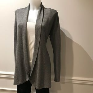 Delightful Cyrus Grey open cardigan sweater.
